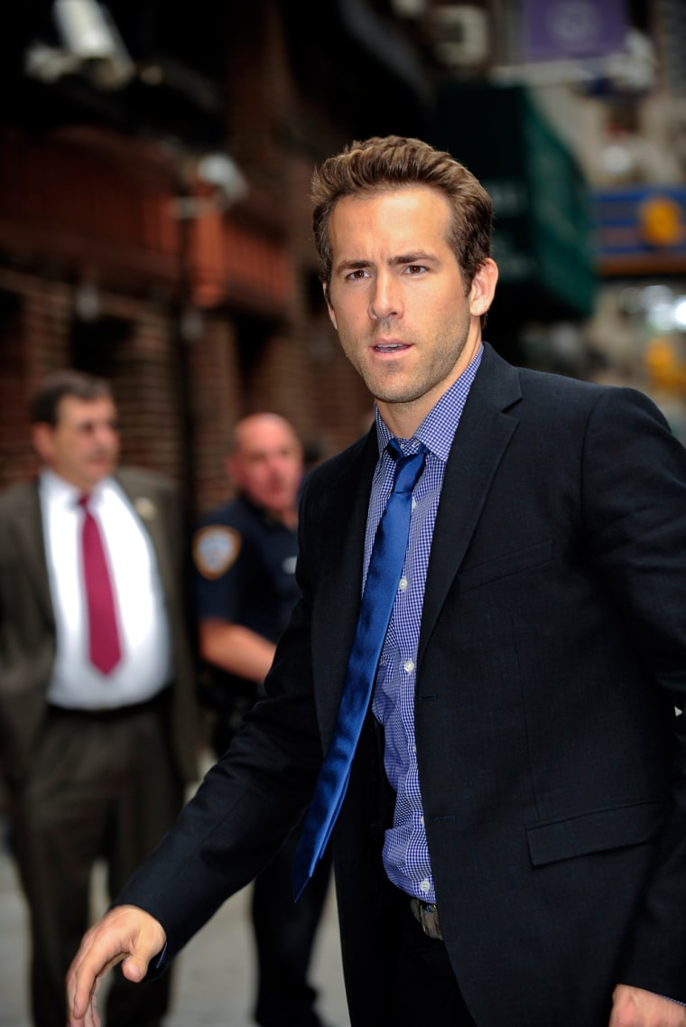 "Image: Ryan Reynolds Visits ""Late Show With David Letterman"""