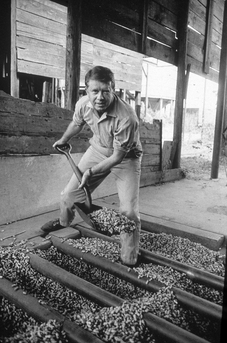Image: Jimmy Carter Shovels Peanuts, GA, 1970s.
