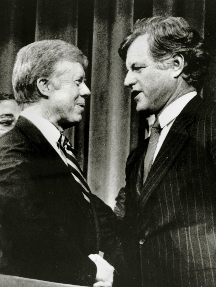 Politics. Personalities. USA. pic: August 1980. Washington. President Jimmy Carter, left, pictured with Senator Edward Kennedy in New York. Jimmy Carter (born 1924) became the 39th President of the United States 1977-1981.