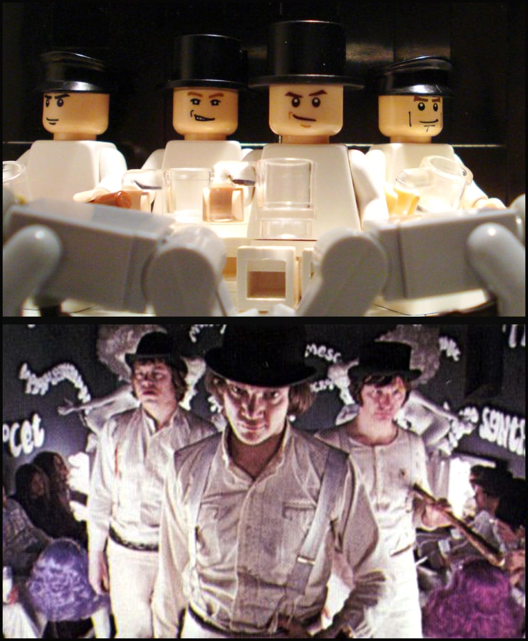 """Student Uses Lego To Recreate Classic Scenes From Films Including """"A Clockwork Orange""""."""