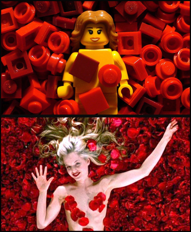 """Student Uses Lego To Recreate Classic Scenes From Films Including Mena Suvari's scene in the film """"American Beauty""""."""