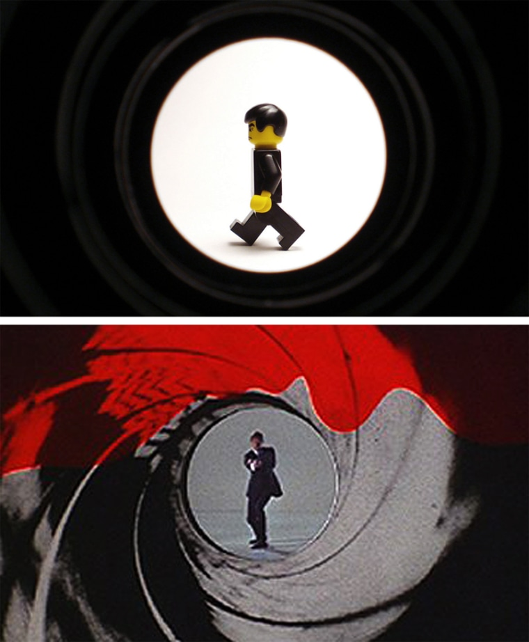 """Student Uses Lego To Recreate Classic Scenes From Films Including """"James Bond"""" Movie: The first Gunbarrel of Roger Moore in Live and Let Die and The Man with the Golden Gun"""