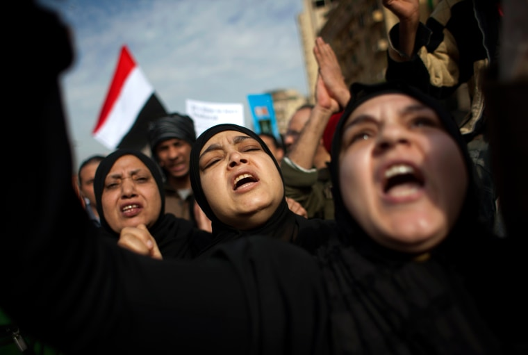 Image: Women march towards Tahrir Square in Cairo