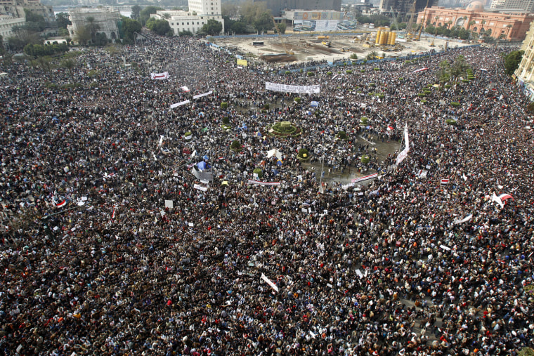 Image: Egyptians rally at Tahrir Square in downtown Cairo