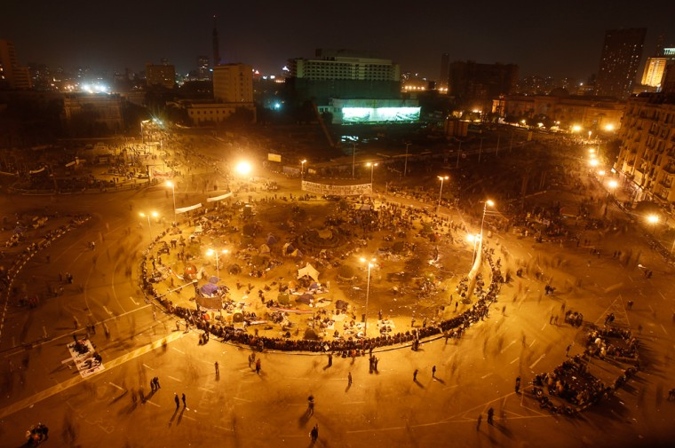 Image: General view of anti-government demonstrators gathered at Tahrir Square in Cairo