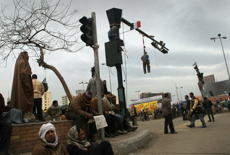 """Image: Anti-Mubarak Protesters Gather In Tahrir Square For """"Day Of Departure"""" Demonstration"""