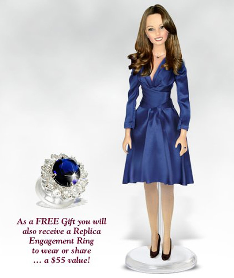 """Kate Middleton, The Royal Engagement, 17-Inch Vinyl Fashion Doll  Celebrate the happy news from Buckingham Palace with Kate Middleton and the Prince she has loved since the day she met him. The bride-to-be is radiant in her sapphire blue designer dress and Princess Diana's fabled sapphire engagement ring. And only this very limited edition portrait doll comes with a perfect replica of the engagement ring given to two royal princesses! You can wear it, share it or just be proud to own it along with this loving tribute to the girl who may someday be Queen of England.   As a FREE Gift you will also receive a Replica Engagement Ring to wear or share...A $55 value!!   Truly tomorrow's treasure today, Kate Middleton is an investment you will cherish all your life. This Premiere Edition will be issued to just a handful of collectors, so don't wait. Commission her today and share the royal romance forever!   Kate is 17 inches from head to her high heels, crafted in our very own Caressalyn Vinyl, comes complete with replica engagement ring for you to wear, numbered Certificate of Authenticity, display stand and an exquisite collector's box. Doll and accessories may vary slightly from photo shown.   Replica Engagement Ring comes in four (4) Available Sizes: 6-7-8-9. Please indicate in the Checkout Comment Box the Size of the Ring you would like to receive...   Features:  Size: 17"""" Material: Caressalyn Vinyl Edition Size: Open Artist: Paradise Galleries Master Sculptor"""