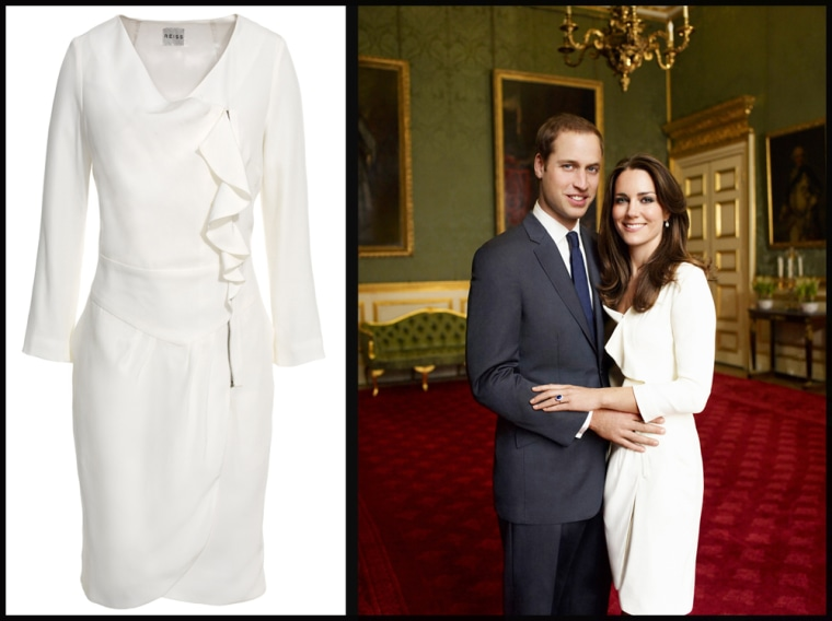 """(R-L) Royal Engagement Portrait Fashion label Reiss has recreated the simple yet stunning """"Nanette"""" frock that the princess-to-be wore for her engagement photo session with Mario Testino. As part of the Spring/Summer 2011 collection, the frilly white dress has been produced in a lighter weight fabric (while still maintaining its original style) and can be yours for $325 at Reiss online and available in stores beginning Feb. 7.  It will likely sell out quickly, so if you're a die-hard Middleton style fan, best to order this chic piece of royal history before it hits the eBay market."""
