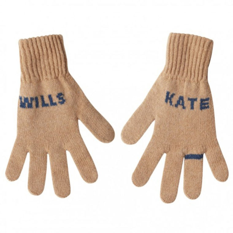 Kate and Wills Gloves Congratulations Kate and Wills! A not so tacky souvenir of the royal engagement,and perfect to wear as we all get ready to do the royal wave. Hand made in Scotland in 100% lambswool. Camel with petrol-blue text and engagement ring!  More details        Price_ £35.00