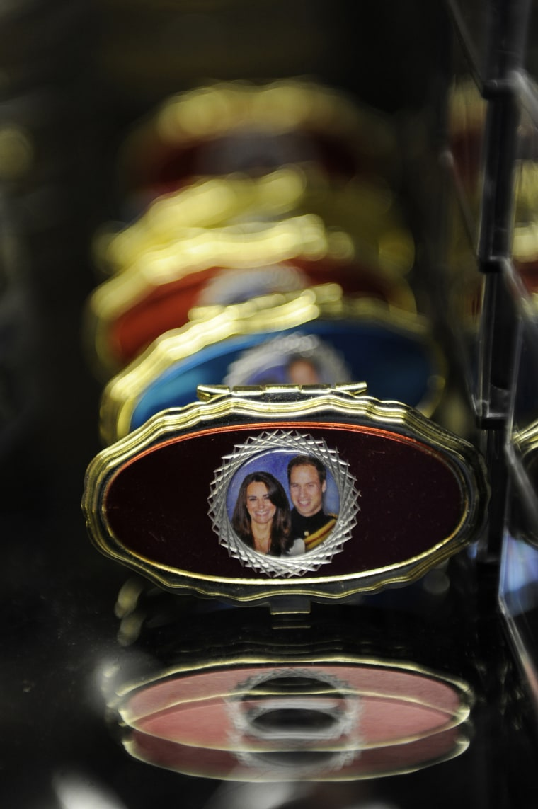 Image: Souvenir jewellery boxes on sale to mark the forthcoming wedding of Britain's Prince William and Catherine Middleton are seen at a shop in London