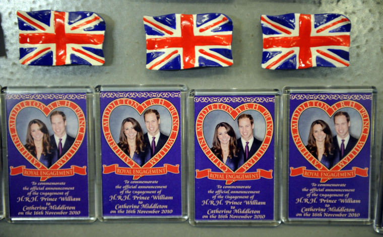 Image: Souvenir refrigerator magnets on sale to mark the forthcoming wedding of Britain's Prince William and Catherine Middleton are seen at a shop in London