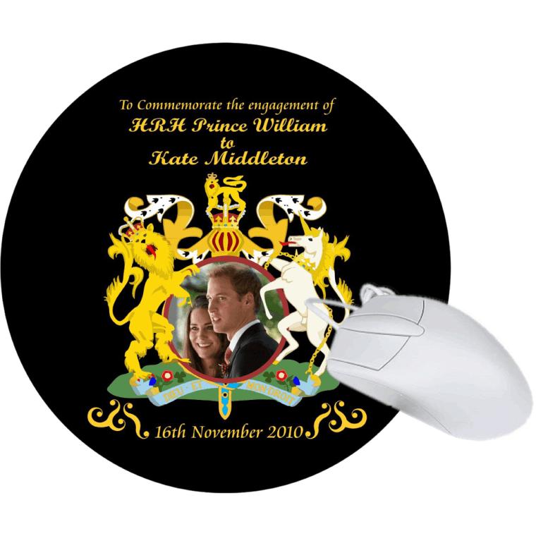 Prince William and Kate Middleton Engagement BLACK DESIGN Mouse Pad Mousepad Mousepad, Ideal Gift to Commemorate the Engagement -