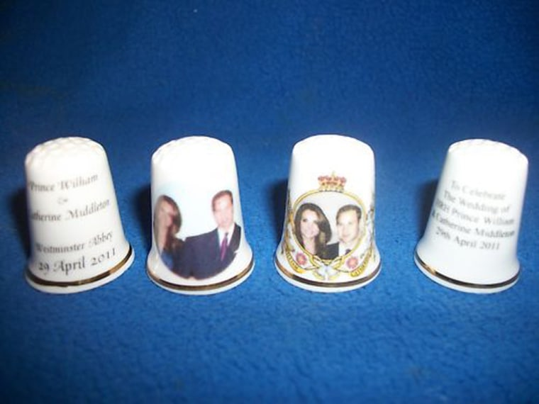 Fine Bone China Guilded Thimble To Commemorate The Official Wedding of HRH Prince William to Catherine (Kate) Middleton, now showing the official wedding date of April 29th 2011.