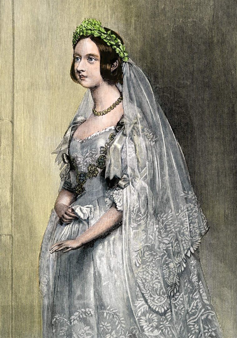 Queen Victoria on her wedding day. Hand-colored woodcut reproduction of a portrait. (North Wind Picture Archives via AP Images)