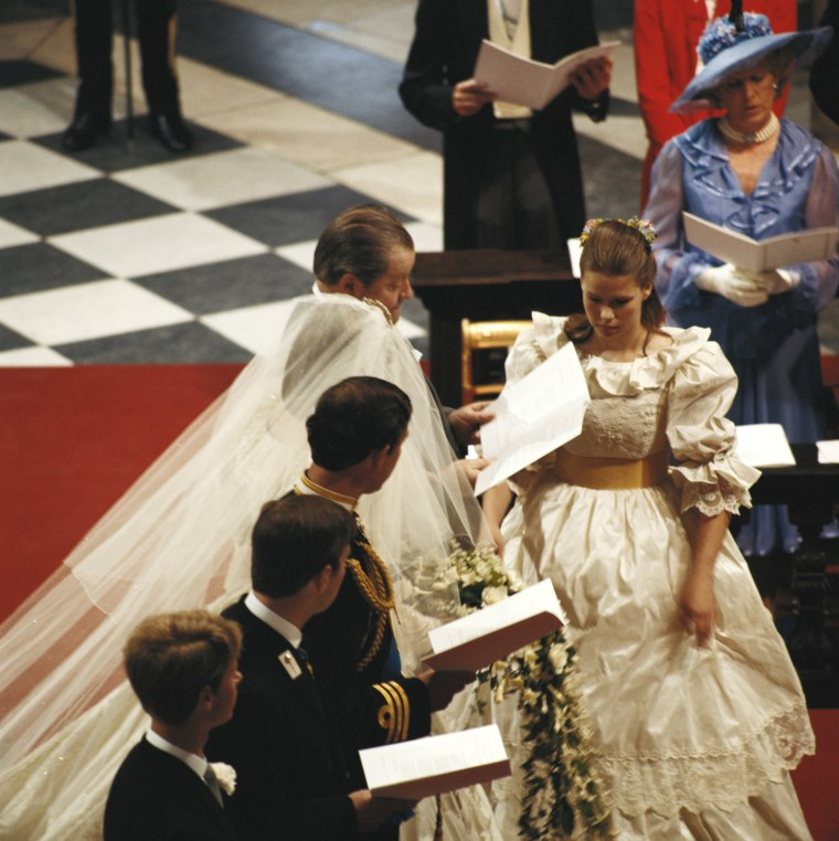 The wedding of Charles, Prince of Wales, and Lady Diana Spencer at St Paul's Cathedral in London, 29th July 1981. Prince Edward and Prince Andrew are Charles' 'supporters' or best men, and John Spencer, 8th Earl Spencer, gives his daughter away. (Photo by Fox Photos/Hulton Archive/Getty Images)