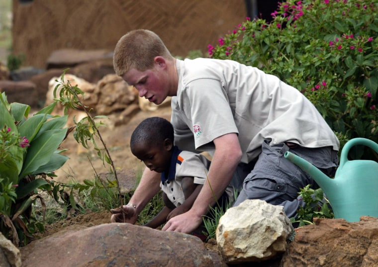 Prince Harry and a young orphan boy plan