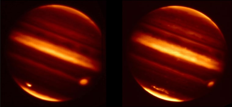Image: Infrared images show particle debris in Jupiter's atmosphere is seen after an object hurtled into the atmosphere