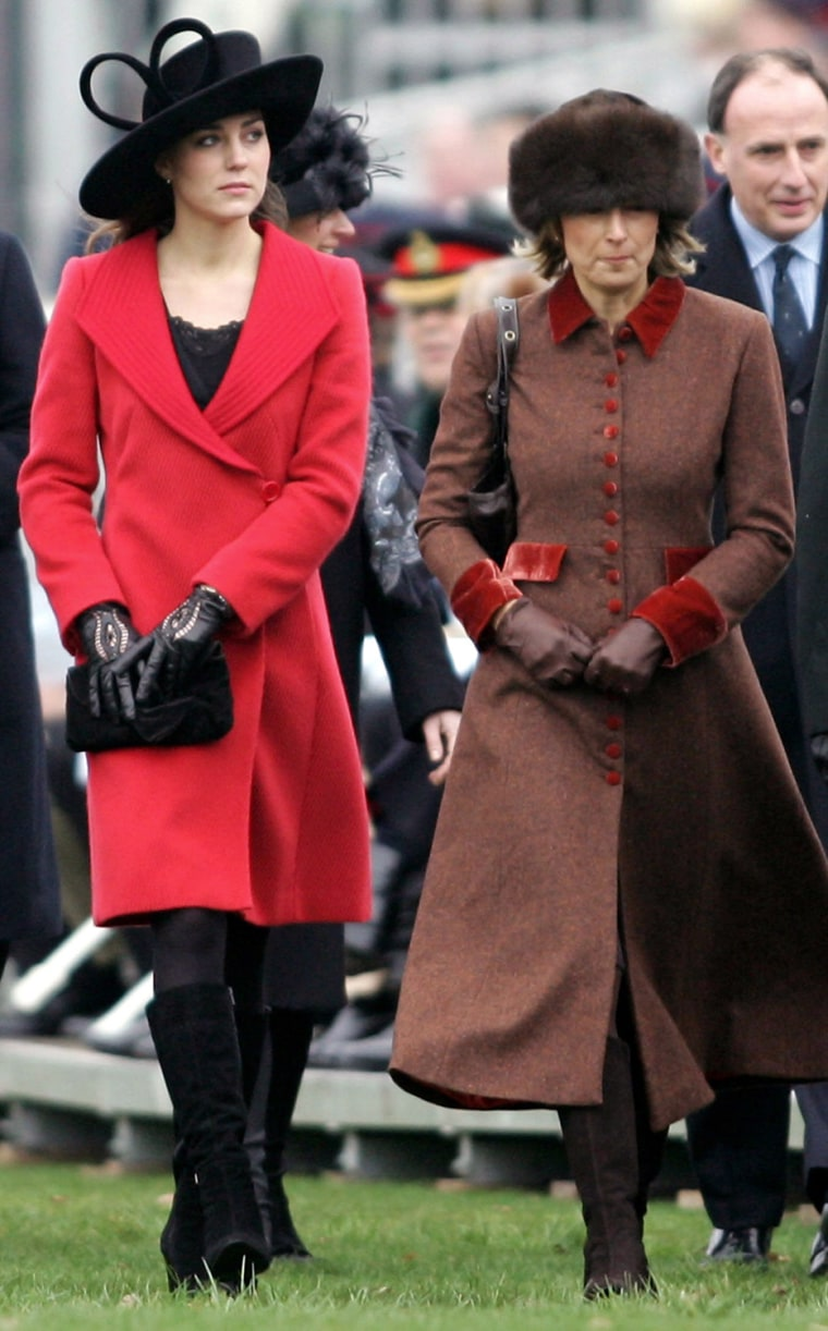 Kate Middleton (L) arrives at Sandhurst
