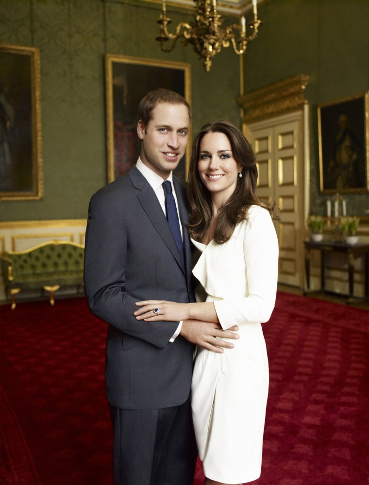 Image: Britain's Prince William and Kate Middleton pose in an official engagement portraits, taken by photographer Mario Testino in London