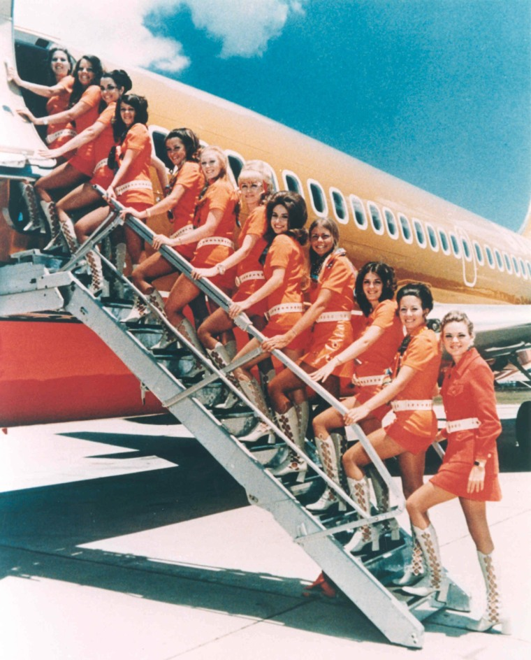 Southwest Airlines flight attendants sported hot pants in the 70s.