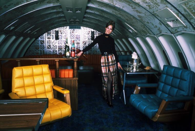 Boeing 747 publicity shot; United Stewardess, early 1970s