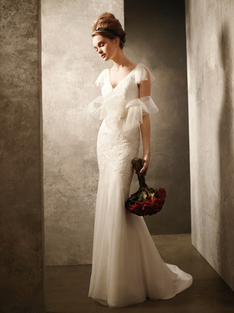 6703546129 White by Vera Wang for David's Bridal: Gown with Hand Appliqued Lace, $800