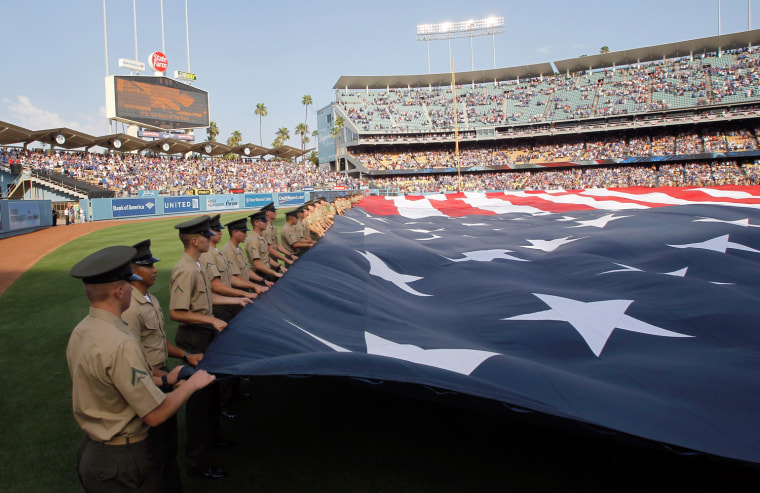 Image: A view shows pre-game ceremonies prior to New York Mets' MLB baseball game against Los Angeles Dodgers in Los Angeles