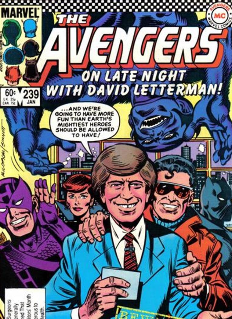 DAVID LETTERMAN MEETS THE AVENGERS COMIC BOOK.