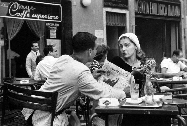 Jinx and Justin Flirting at the Cafe, Florence, Italy, 1951