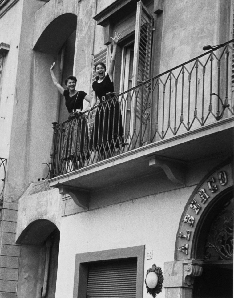 Jinx and Ruth on the balcony, Florence, Italy 1951