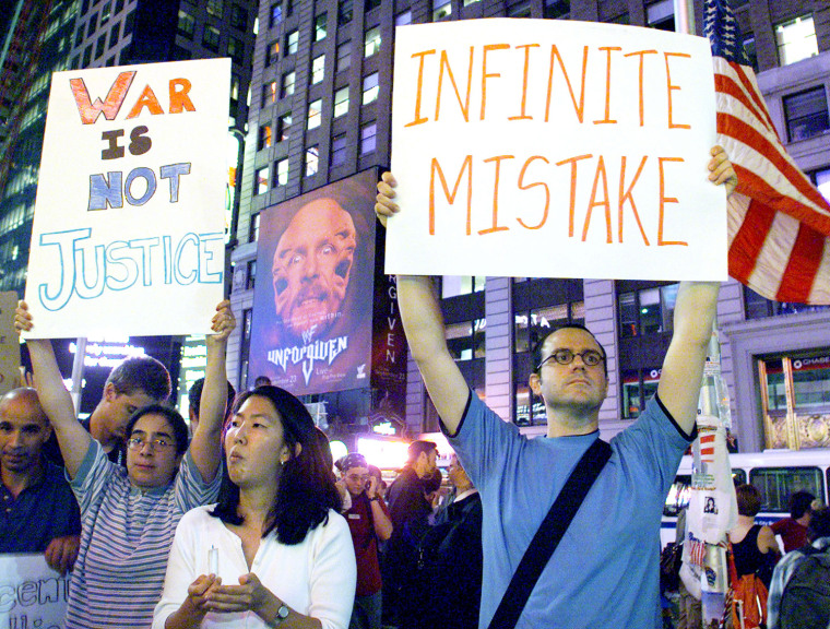 ANTI WAR PROTESTERS IN NEW YORKS TIMES SQUARE