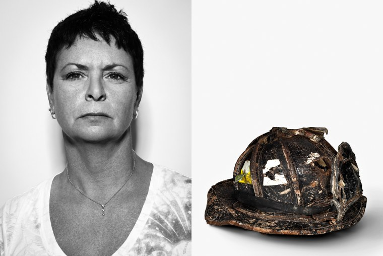 Nancy Nee GeorgeÕs sister  A heavily dented and damaged mass hardly recognizable as the helmet it once was. Thinking about how powerful the destructive force must have been still makes her lose her breath. ÒGeorge was such a tall, strong manÕÕ, says Nancy. And yet looking at the black relic brings her a certain measure of peace. Her brother George was a firefighter to the core and the helmet was an integral part of his life. On September 11, George helped evacuate hundreds of guests from the Marriott Hotel, close to the World Trade Center. When the towers collapsed, he did not stand a chance. The hotel was completely destroyed, but most of the guests survived. To this day, her children miss their uncle very much, says Nancy Nee. She still hasnÕt shown her two youngest the helmet.