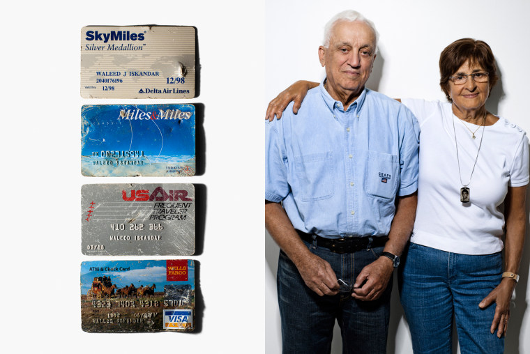 Joseph and Samia Iskandar WaleedÕs parents  Three frequent flyer cards and a debit card are all that remained of their son. Recovery workers at Ground Zero found neither his body nor any parts of it Thus, the parents placed the four cards along with a photo of their son in a niche in the San Fernando Mission Cemetery in Los Angeles. The plastic is the only remembrance of the last day of WaleedÕs life. The youngest of three children, he was born in Lebanon and raised in Kuwait. He graduated from Stanford and Harvard. In his job as consultant and in his leisure time together with his girlfriend Nicolette, he flew more than 400,000 miles a year. He was sitting in the window seat in row 34 when the plane crashed into the North tower. His parents hope that maybe Òhe did not exactly know what was going on in the cockpit.Ó