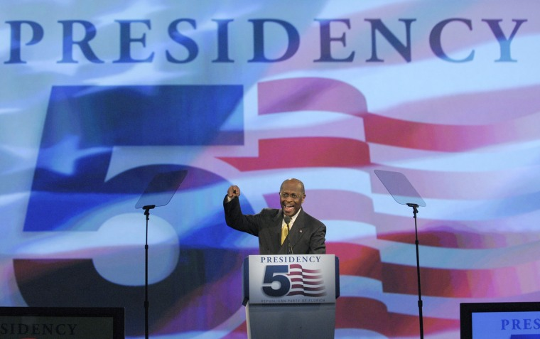 Image: Presidential candidate Herman Cain speaks to delegates during the Republican Party of Florida Presidency 5 Convention in Orlando