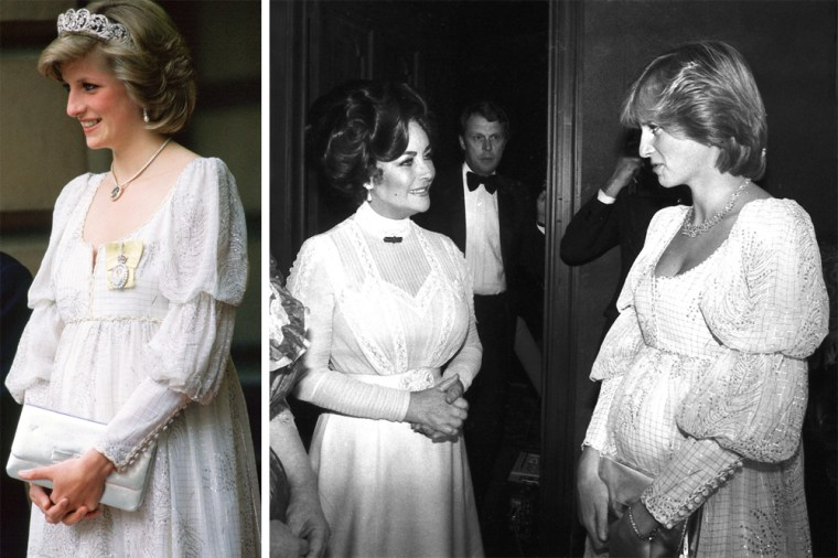MAY 14 1984  Princess Diana, Pregnant With Her Second Baby, Wearing A Maternity Dress With The Spencer Family Tiara, Royal Family Orders And A Diamond Necklace In The Shape Of The Prince Of Wales Feathers, For An Event At The Royal Academy  (Photo by Tim Graham/Getty Images) MOVIE FILM STAR HOLLYWOOD ACTRESS FAMOUS CELEBRITY CENTER 1980S MONOCHROME CHATTING TALKING ROYALTY ROYAL BACK STAGE PREGNANT 3/8/1982
