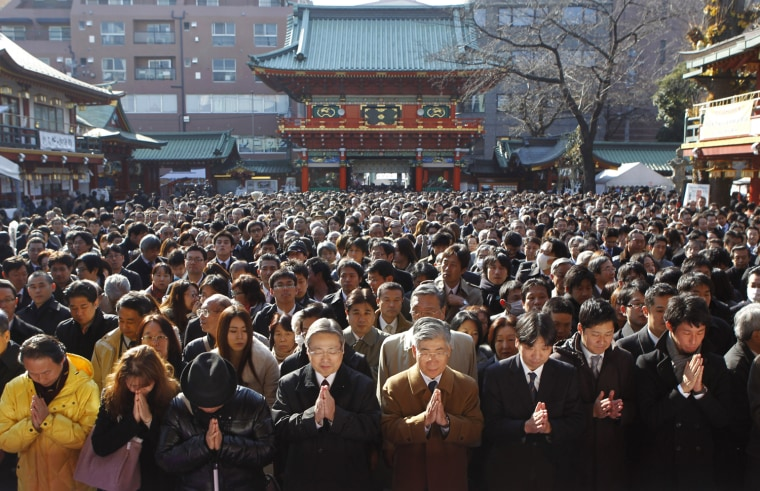Image: People offer prayers at the start of the new business year at Kanda Myojin Shrine in Tokyo