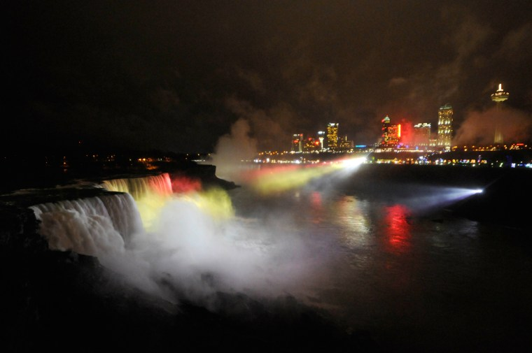 NIAGARA FALLS, N.Y., JAN. 12, 2012 - The American falls are illuminated for the 60th anniversary of the TODAY Show. (DOUG BENZ FOR THE TODAY SHOW)