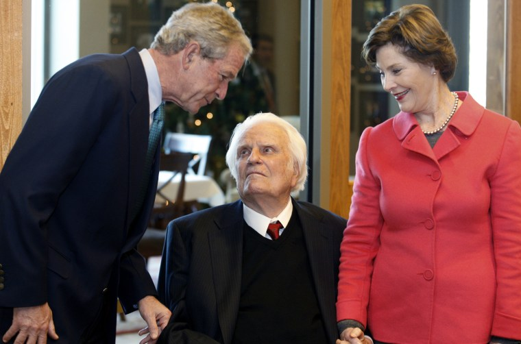 Image: George W. Bush, Billy Graham, Laura Bush