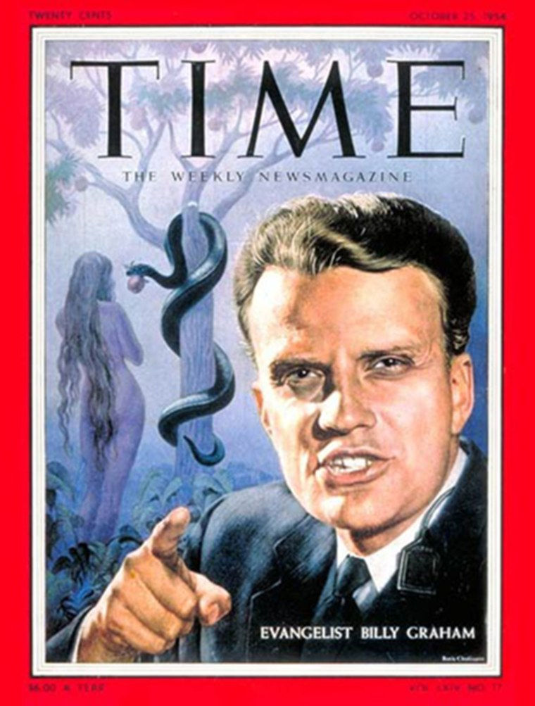 Billy Graham appeared on the cover of Time magazine for the first time on Oct. 25, 1954. He has since appeared three more times on the cover, the most recent on Aug. 20, 2007.