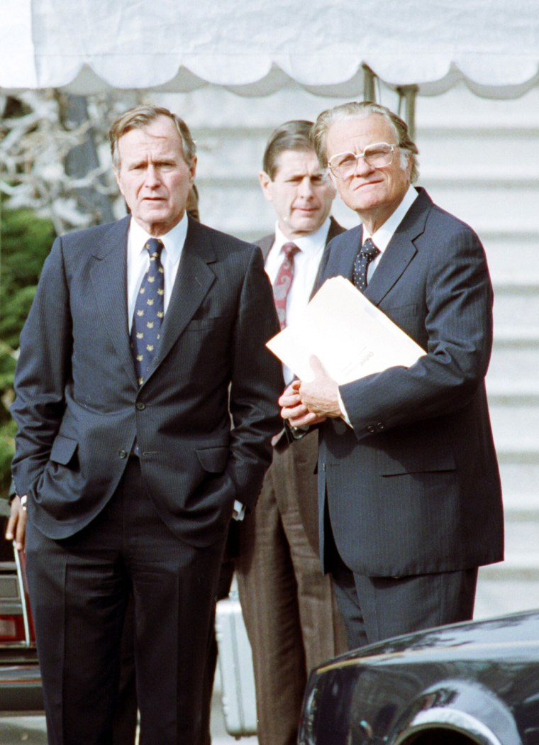 President George Bush Stands With Billy Graham January 19 1991 At The White House Shortly