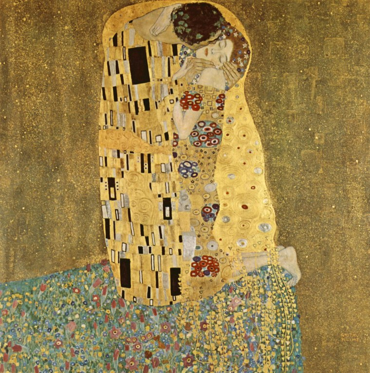 Gustav Klimt 1862 - 1918. 'The Kis' was painted by Gustav Klimt, and is probably his most famous work. He began work on it in 1907 and it is the highpoint of his so-called 'Golden Period'. It depicts a couple, in various shades of gold and symbols, sharin