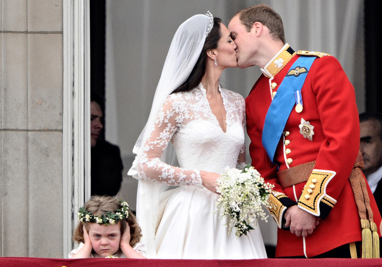 Britain's Prince William kisses his wife