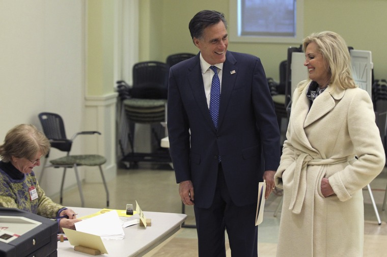 Image: Republican Presidential Mitt Romney Votes In The Massachusetts Primary