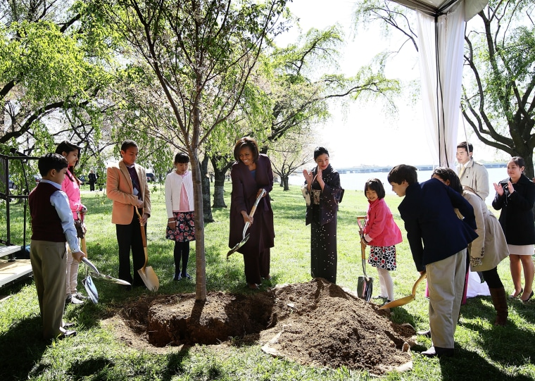 Image: The First Lady Attends The National Cherry Blossom Festival's Centennial Tree Planting