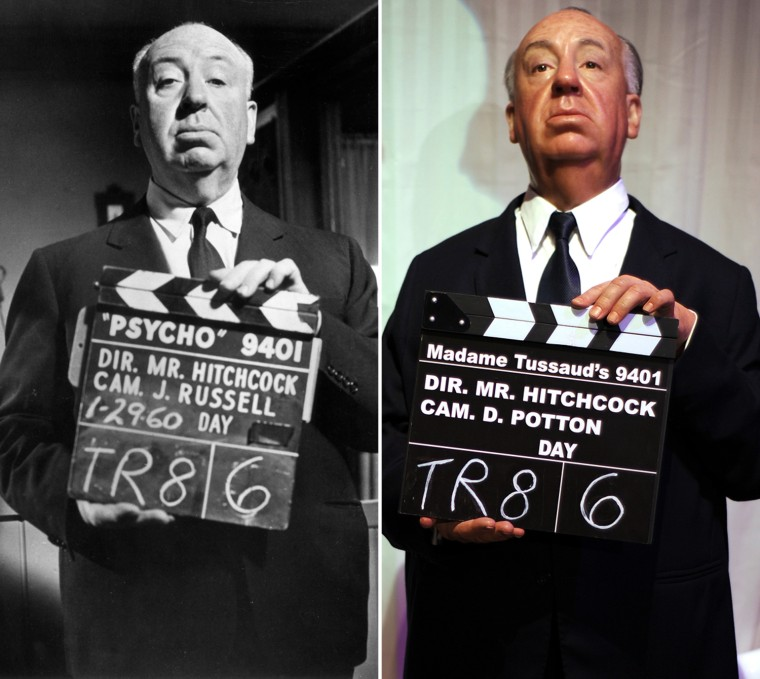 "Portrait of Alfred Hitchcock holding up a clapperboard on the set of the film Psycho.   (Photo by Hulton Archive/Getty Images)  A wax figure of director Alfred Hitchcock is seen at ""The celebrity Awards Hall"" exhibition at Madame Tussauds in Hollywood, California, on February 25, 2010. Forty of the Madame Tussauds Hollywood figures are Oscar winners.  AFP PHOTO / GABRIEL BOUYS (Photo credit should read GABRIEL BOUYS/AFP/Getty Images)"