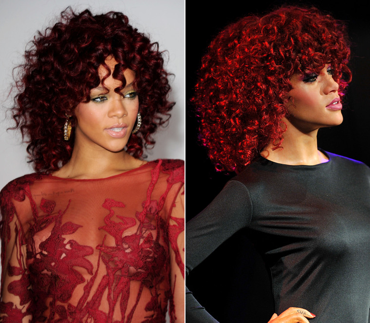 Singer Rhianna arrives at the 2010 American Music Awards held at Nokia Theatre L.A. Live on November 21, 2010 in Los Angeles, California.  A waxwork model of Barbadian R&B singer Rihanna is unveiled at Madame Tussauds museum in central London, on October 3, 2011.