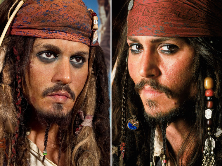 A figure of Johnny Depp as Captain Jack is one of the exhibits on display along with a replica of the Oval Office constucted to celebrate the President Of The United States of America's 50th birthday at Madame Tussauds on August 4, 2011 in Washington, DC.  Movie still