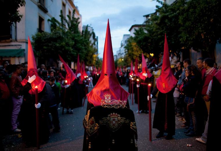 Image: Penitents Celebrate Holy Week In Cordoba On Jueves Santo