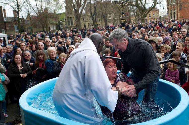 Image: Multiple Baptism In York On Easter Weekend