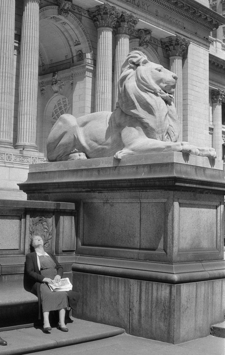 "A woman suns herself outside the entrance to the New York Public Library in 1955 in this photo, called ""Lady and the Lion."""